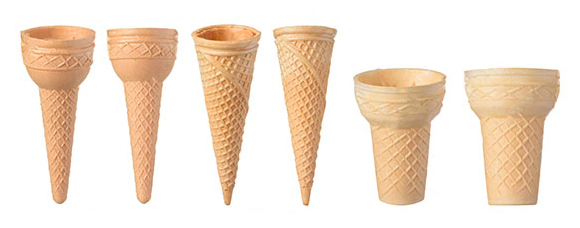 Various shape wafer cone